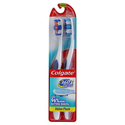 Colgate 360 Degree Adult Full Head, Medium Twin Toothbrush, 2 Count (Pack of 12)