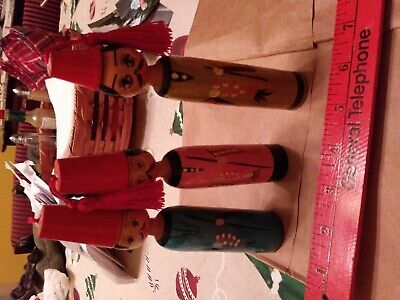 Vintage Hand Painted Folk Art, Egyptian People, Spindle, Made in Egypt