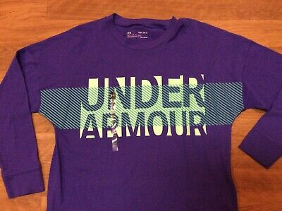 New With Tags Under Armour Long Sleeve Shirt Purple Girls Youth Medium 10-12