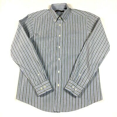 Ben Sherman Men's Blue Gray White Button-Down Long Sleeve Shirt Size XL EUC