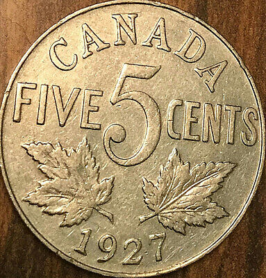 1927 CANADA 5 CENTS COIN - Good example!