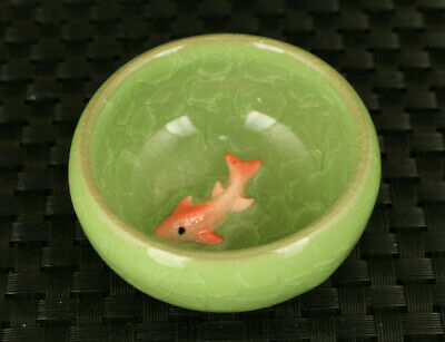 Asian old green porcelain painting fish statue tea cup bowl home decoration gift