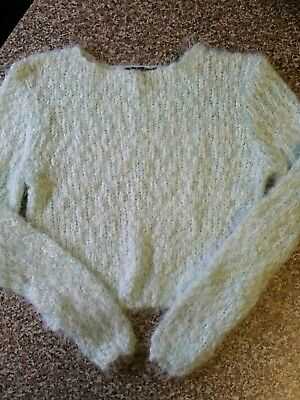 Girls Mint Green Wooly Cropped Jumper Aged 12-13 Years From New Look.