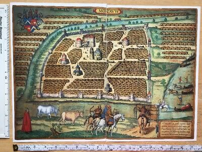 Old Colour Map of Moscow, Russia: 1575 by Braun & Hogenberg REPRINT 1500's