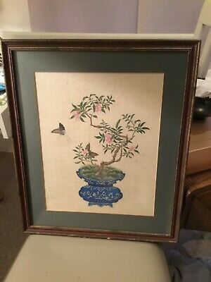 Antique 19th century Chinese Painting Silk Picture Ornament Decor Art Oriental