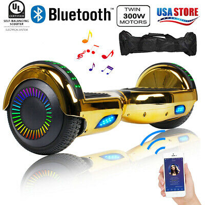 "6.5"" Hoverboard Bluetooth Two Wheel Electric Self Balance Scooter with Bag Gold"
