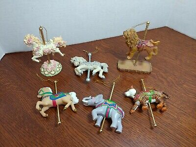 Lot Of 6 Resin And Plastic Carousel Christmas Tree Ornaments Circus and horse