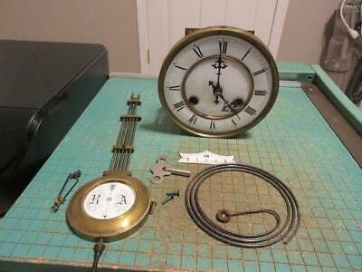 Antique Junghans Vienna Regulator Wall Clock Spring Driven Movement and Parts