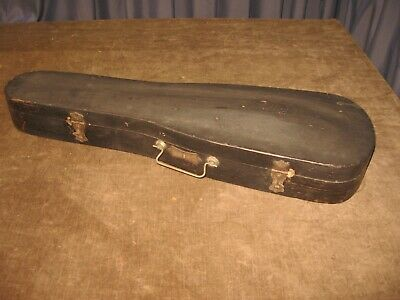 ANTIQUE VINTAGE WOOD VIOLIN CASE w BOW SIGNED G&B TIGHT ORIG INTERIOR A+ COND