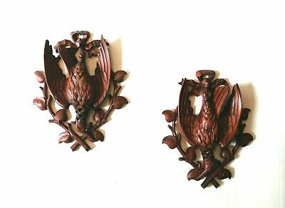 Antique Pair of Matching Black Forest Hand Carved Game Birds Wall Plaque Plaques