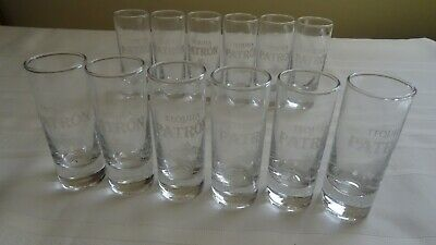 Patron Tequila Shot Glasses - 12 Shooter Glass Etched Bee New