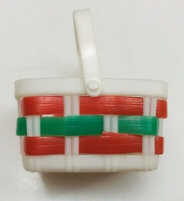 Vtg Small Miniature Red-Green Xmas Woven Plastic Wicker BASKET-Hinge Handle Mini