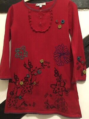 Girls Red Marks & Spencer Autograph Cotton Jumper Dress Embroidered Flowers 5-6