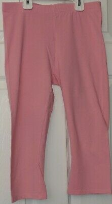Justice Girls Cotton Spandex Stretch Knit Crop Capri Leggings Size 16 Pink EUC