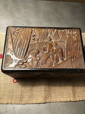 Vintage Wooden Chinese Carved Box