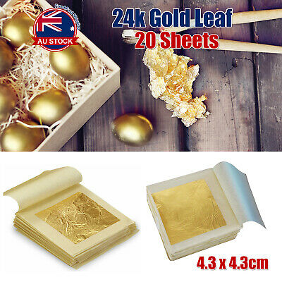 20x Pure 24K Edible Gold Leaf Sheets For Cooking Framing Art Craft Decorating H