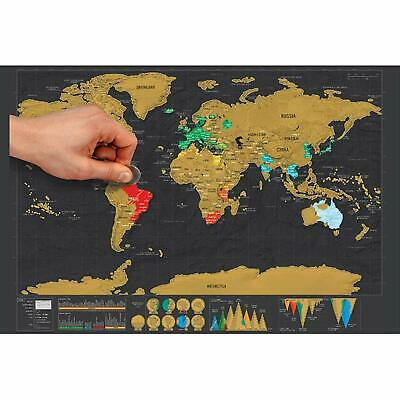 Deluxe Travel Size Scratch Off World Map Poster Gift Global Walkabout USA Maps
