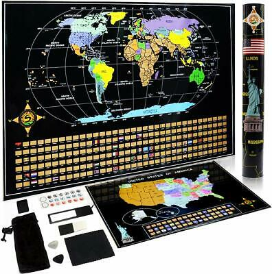Deluxe Travel Scratch Off World Map USA Poster Gift Home Decor Art Set Included