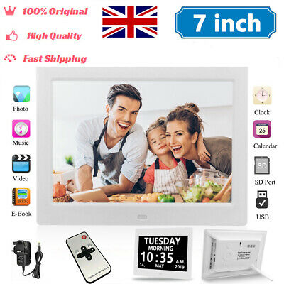 7 Inch LED Digital Photo Frame MP3 MP4 Player Electronic Clock Album 1024*600 UK