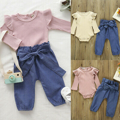 Fashion Newborn Baby Girl Outfits Knot Bow Romper Bodysuit+Denim Pants Jeans Set