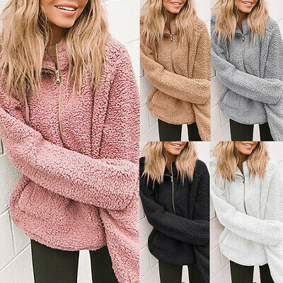 Womens Winter Ladies Hooded Plush Fleece Coat Long Sleeve Coat Pocket Outerwear
