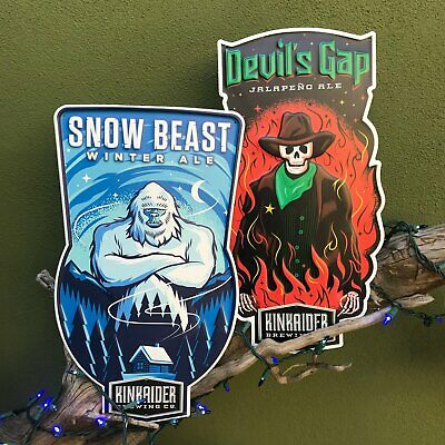 Kinkaider Brewing Co Devil's Gap and Snow Beast Tin Tacker Metal Beer Signs Set
