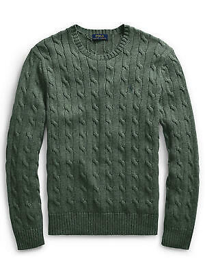 Ralph Lauren Polo Men's Cable Jumper Crew Neck Knit Cotton Green - Rrp £119 - L