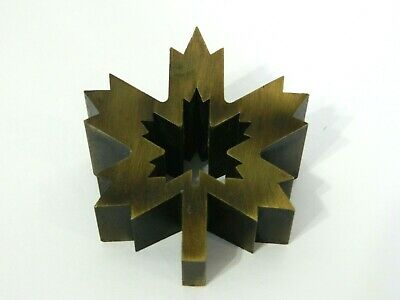VTG Francois Dallegret Zinc Brass Finish MAPLE LEAF Air Canada Paper Weight 80's