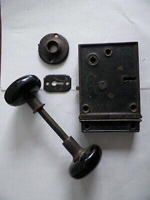 Antique BLW Branford Cast Iron Rim Lock Set Back Plate Black Knobs Keeper Works