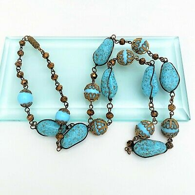 Art Deco Era Hubbel Style Turquoise & Copper Czech Glass Bead Necklace