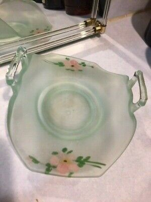 Frosted Green Depression Glass Candy Dish Bowl Hand Painted Floral Pattern Vtg