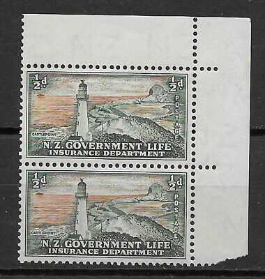 NEW ZEALAND, 1947/65 , LIFE INSURANCE , PAIR 1/2p STAMPS , PERF , MNH , $3.50