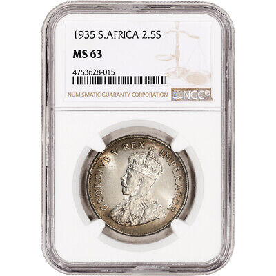1935 South Africa Silver 2 1/2 Shillings 2.5S - NGC MS63