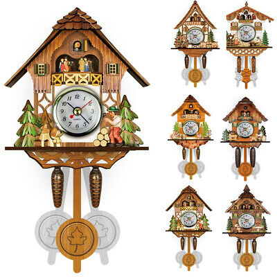1pc Wall-mount Wooden Cuckoo Wall Clock Swing Timer Art Home Office Alarm Clock