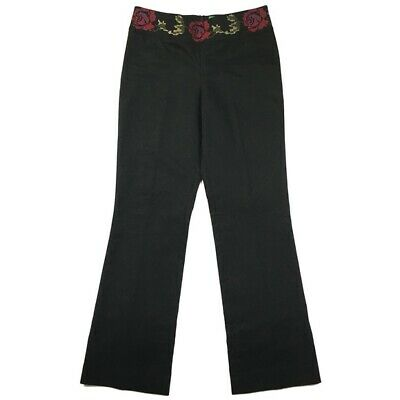 TIBI Womens Size 4 Pants Rose Embroidered Corduroy Bootcut Mid Rise Cotton