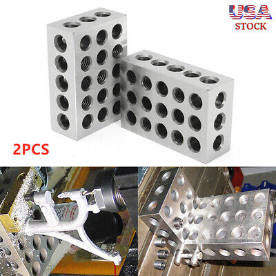 2 x Matched Pair Ultra Precision 1-2-3 Blocks 23 Holes .0002'' Machinist NEW TO