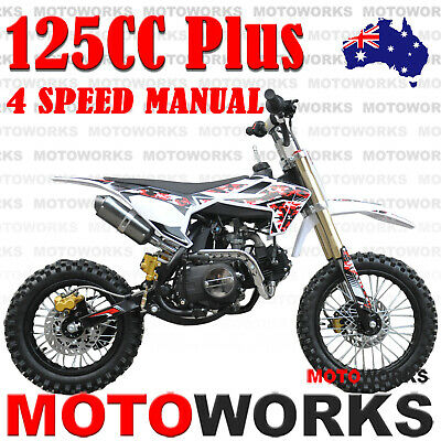MOTOWORKS 125CC PLUS DIRT TRAIL PIT MOTOR 2 WHEELS PRO BIKE Kick start RED