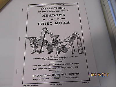 1923 International Harvester Meadows Grist Mill Instruction/Parts manual