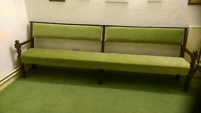 Victorian Church benches upholstered in light green fabricsC