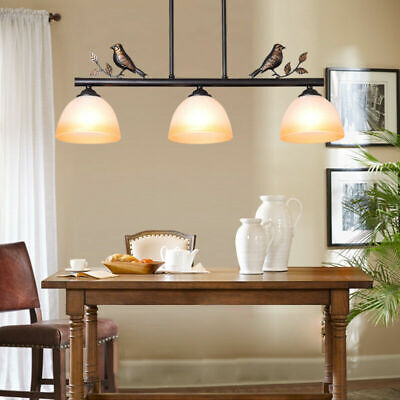 French Country Black Metal Glass Round Shade 3 Lamps Ceiling Pendant Lights Home