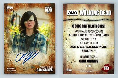 Chandler Riggs #A-CR Walking Dead S7 Topps Rust #19/99 Parallel Autograph Card