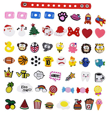50pcs X'ma's Animals Balls Fast Food Fruit Shoe Adapter Charms Fit Wristbands