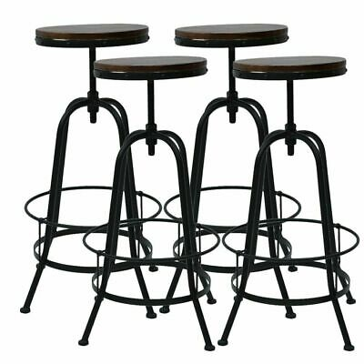 Vintage Bar Stool Metal Wooden Industrial Retro Seat Kitchen Pub Counter Home CR
