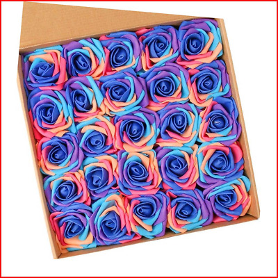 N&T NIETING Artificial Flowers Roses, 25pcs Real Touch Unicorn Foam Rose with B