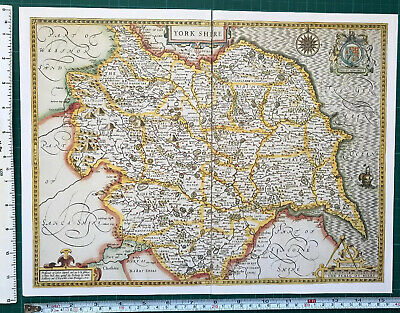 Old Antique Collectable Tudor map of Yorkshire, England John Speed 1600s Reprint