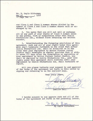 """Lucille """"Lucy"""" Ball - Contract Signed 05/22/1958 Co-Signed By: Desi Arnaz Sr."""