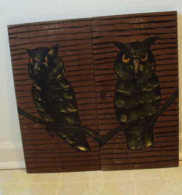 2 Antique Hand Carved Wood Plaque-Wood Carvings-2-Owls On Branch-Wall Panel-Rare