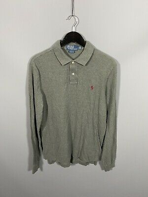 RALPH LAUREN Long Sleeve Polo Shirt - Large - Grey - Great Condition - Men's