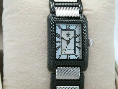 Judith Ripka Stainless Steel Lexington Watch Black/Silver Large