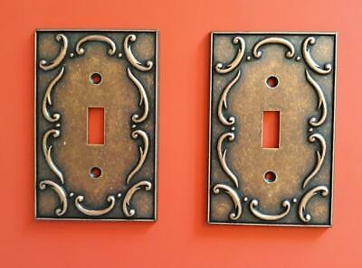 Set of 2 Vintage Decorative Copper Single Switch Light Switch Covers by LHMC